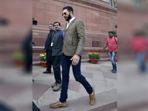 Yuvraj Singh at Parliament during the winter session