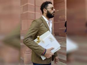 Yuvraj Singh at Parliament to meet with Prime Minister Narendra Modi to extend an invitation for his marriage