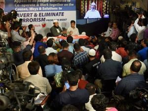 Islamic preacher Zakir Naik addresses the media through a video conference in Mumbai