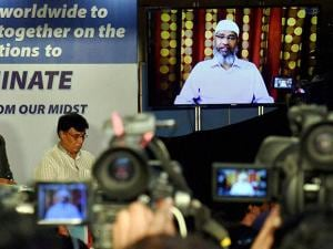 Zakir Naik addresses the media through a video conference in Mumbai