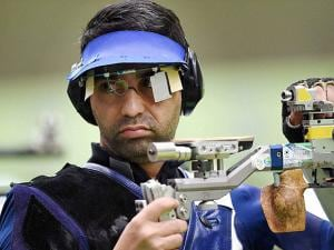 Abhinav Bindra competes in the Men's 10m Air Rifle qualifying round