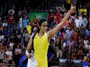 Pusarla V Sindhu celebrates her win at Rio