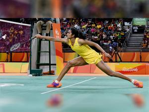 Pusarla V Sindhu plays a shot in women's singles at Rio