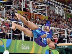 Dipa Karmakar Participates in the vault during the artistic gymnastics