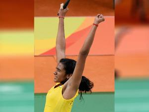 PV Sindhu celebrate after defeating Japan's Nozomi Okuhara