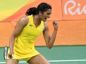 PV sindhu celebrates his victory