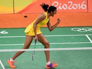 PV Sindhu during Semifinal