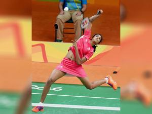 P.V. Sindhu plays a shot in the  pre-quarter Finals