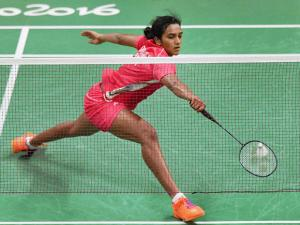 Shuttler P.V. Sindhu plays a shot in the  pre-quarter Finals match against Tai Tzu Ying of  Chinese Taipei in 2016 Summer Olympics