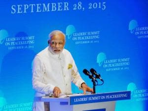 PM Modi delivering his speech at the UN Peacekeeping Summit