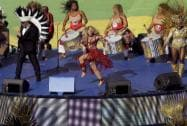 Shakira performs for the soccer World Cup