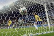 Brazil's goalkeeper unable to stop Germany's goal
