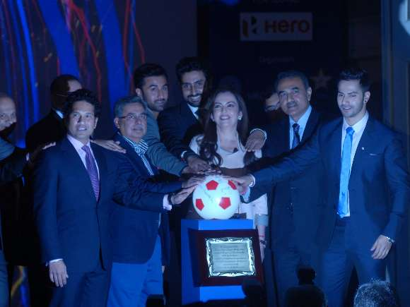 Sachin Tendulkar, Ranbir Kapoor, Abhishek Bachchan, Indian Super League