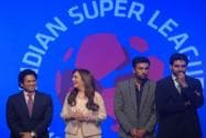Sachin Tendulkar, Ranbir Kapoor during the launch of ISL