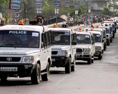 Police convoy in Ahmedabad