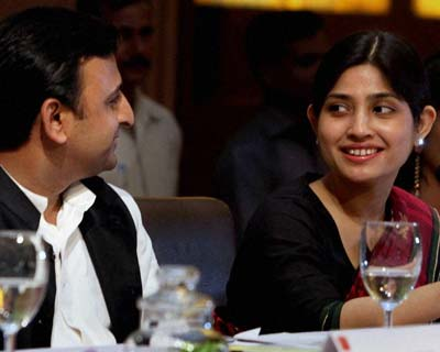 Akhilesh and his wife MP Dimple Yadav at an interactive session