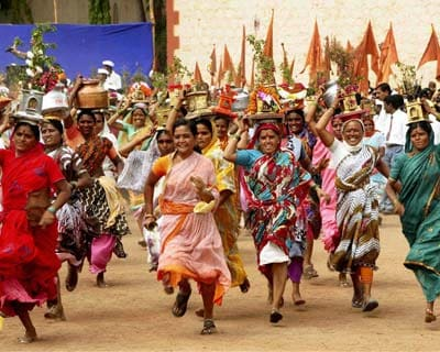 Women take part in Sant Tukaram Palkhi procession