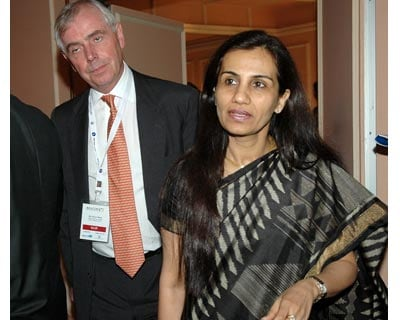 (From Left) Bank of America-Merrill Lynch Country Head Kevan Watts and ICICI Bank Chief Executive Officer & Managing Director Chanda D Kochhar at the BANCON Indian Banking Conclave 2009-10