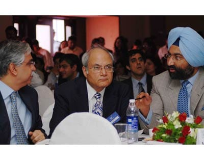 Sunil Kant Munjal, chairman, Hero Corporate Service, Ajai Chowdhry, chairman HCL infosystems and Malvinder Singh, group chairman, Fortis Healthcare watching the budget proceedings in New Delhi
