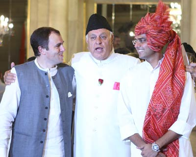 Jammu & Kashmir Chief Minister Omar Abdullah, Farooq Abdullah and Sachin Pilot at Rashtrapati Bhavan after the Cabinet expansion ceremony