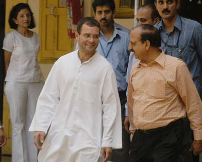 Rahul Gandhi coming out of the polling station at Aurangzeb lane in New Delhi. Who do you think he voted for?