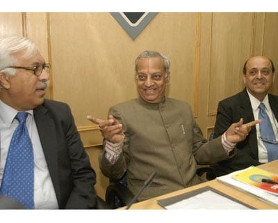 Election Commissioner S Y Qureshi (from left), Chief Election Commissioner N Gopalaswami and Election Commissioner Navin Chawala at the  all-party meet with Election Commission in New Delhi.