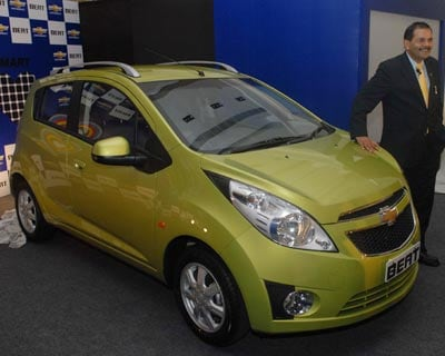 <b>Chevrolet Beat:</b> GM&#39;s radical new hatchback comes at a mouth-watering price. The base version starts at Rs 3.34 lakh, while the fully-loaded LT version that comes with alloy wheels, roof rails, auto AC, tilt steering and rear power windows costs Rs 3.94 lakh ex-showroom, New Delhi.