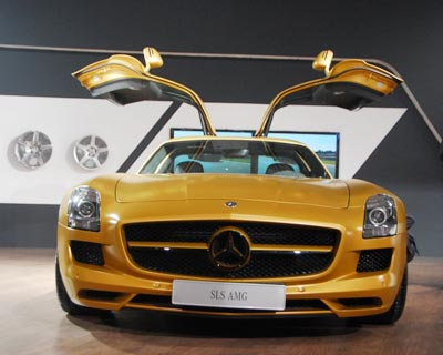 <b>Mercedes-Benz SLS AMG:</b> An aluminium spaceframe body with gullwing doors and  a 6.3-litre V8 engine under the hood. This is a Merc that is big on style and power!
