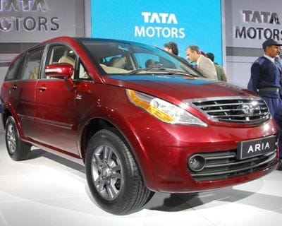 <b>Tata Aria:</b> A good-looking MPV that is Tata Motors&#39; answer to the Toyota Innova. The Aria has three rows of seats and is likely to be powered by the 2.2-litre Dicor motor borrowed from the Safari.