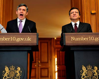 Brown addresses members of the media during a joint news conference with European Commission President Jose Manuel Barroso at 10 Downing Street in London (Reuters)