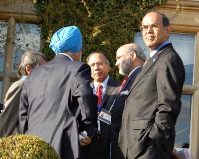 Reserve Bank of India Governor D Subbarao along with Montek Singh Ahluwalia at the G-20 Finance Ministers' meeting