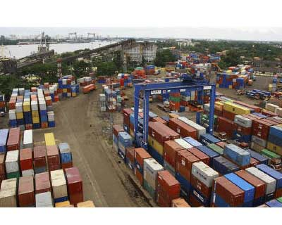 <p>Shipping containers stand stacked at the Container Terminal at the Cochin Port on Willingdon Island in Kerala</p><p><b>India's exports in June rose an annual 46.5% to $29.2 billion, while imports for the month rose 42.5% to $36.9 billion, government data showed on Monday.</b></p><p>India's trade deficit in June stood at $7.7 billion, it said, while oil imports rose 30% to $10.2 billion.</p><p>India's exports grew a record 37.6% in the 2010/11 fiscal year that ended in March, as demand soared for engineering goods, oil products and gems manufactured in Asia's third-largest economy.</p>