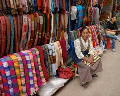 A majority of Tibetans make a living selling woolens