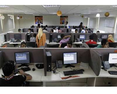 </p><p>Employees work at a call centre in Rangreth, on the outskirts of Srinagar</p><p><b>India&#39;s service sector has contracted for the first time in more than two years as new business all but dried up and expectations weakened amid concern over a flagging world economy, a survey showed on Wednesday.</b></p><p>The seasonally adjusted HSBC Markit Business Activity Index, based on a survey of around 400 firms, plunged in September to 49.8 -- its lowest reading since April 2009 -- and below the 50 mark which separates growth from contraction.</p><p>The index was at 53.8 in August.</p>