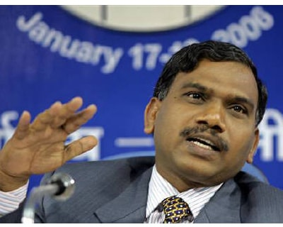 <p><b>A Raja speaks during a news conference in New Delhi </b>