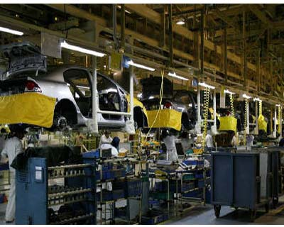 <p>Workers assemble cars at a plant on the outskirts of New Delhi</p><p><b>Growth in India&#39;s manufacturing sector eased slightly in May as the pace of new orders slowed, but factories&#39; input and output prices continued to rise sharply, reinforcing expectations of further policy tightening by the central bank.</b></p><p>The HSBC Markit Purchasing Managers&#39; Index , based on a survey of around 500 companies, edged down to 57.5 in May from 58.0 in April, weighed down by a slower expansion rate for new orders and a labour shortage.</p><p>Even so, the level of activity in India&#39;s manufacturing sector maintained its strong momentum and the index has now stayed above the 50 that divides growth from contraction for the 26th consecutive month. Backlogs of work also continued to increase, though capacity pressures are leading to longer delivery times.</p>