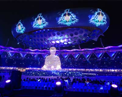 <p>A laser show on seven &#39;kundalini chakras&#39; during the opening ceremony of Commonwealth Games in New Delhi</p>