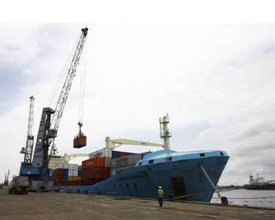 a container ship is loaded at the container terminal at the cochin port on willingdon island in kerala