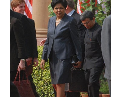 <p>Indra Nooyi, president and chief executive officer of PepsiCo at Hydrabad House after attending high level delegation meeting between Indian PM and US President