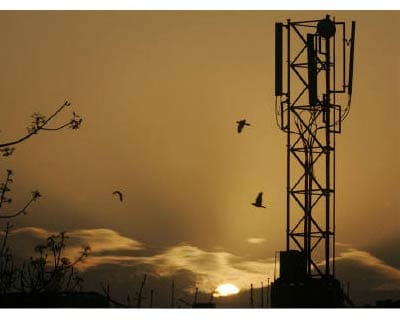 <p><b>The sun rises behind a communications tower in New Delhi</b>