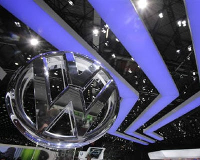 <p><b>A Volkswagen logo is pictured during the second media day of the 81st Geneva Motor Show at the Palexpo in Geneva.</b>
