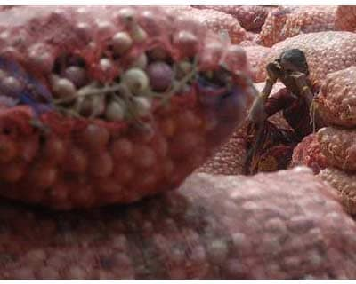 <p><b>A labourer sits on a sack of onions as she takes a break at a wholesale market in Hyderabad</b>