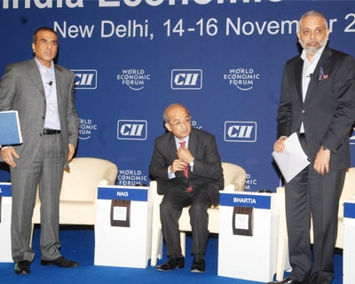 <p>Sunil Bharti Mittal,chairman and group ceo bharti enterprise,Rajat Nag-MD-General,ADB,Manila and Hari Bhartia,president CII