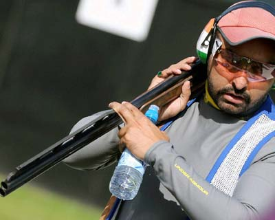 Ronjan Sodhi competes in men's double trap event in London