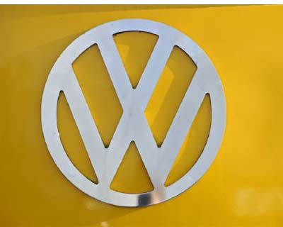 <p><b>The front of a VW campervan is seen in Tansley, northern England</b>