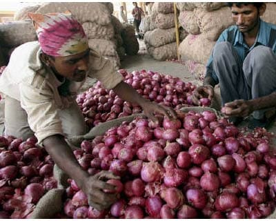<p><b>Labourers sort onions at a vegetable wholesale market in Ahmedabad</b> 