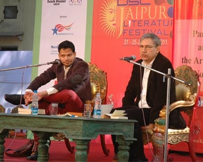 <p>Orhan Pamuk(right) in conversation with Chandrahas Choudhury on the topic &#39;The Reluctant Fundamentalist&#39; at the last day of the Jaipur Literature Festival 2011</p>