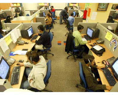 """<p><b>Engineers attend to calls from abroad inside a call center in Gurgaon on the outskirts of New Delhi </b> </p><p> India's top IT services provider Tata Consultancy Services expects to see fast sales growth in its European operations as it expands into new countries, while it benefits from its cheaper cost base. </p><p> """"We are growing 20-25 per cent on annual basis - we expect similar level (growth) also in headcount,"""" TCS's European chief A S Lakshminarayanan told Reuters in an interview, adding he expects sales growth to continue at least on that level. </p><p> TCS European business sales were at $1.68 billion in fiscal year ending in March 2010, making it the second-largest region for the group after the United States. </p>"""