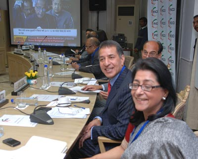 <p>Rajan Mittal president FICCI,Naina kidwai of HSBC and other businessmen listening to FM&#39;s Budget Speach in new dlehi</p>