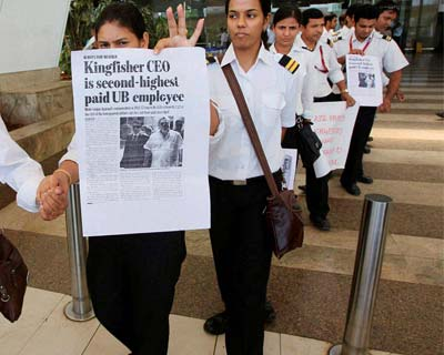 Protest march by Kingfisher employees
